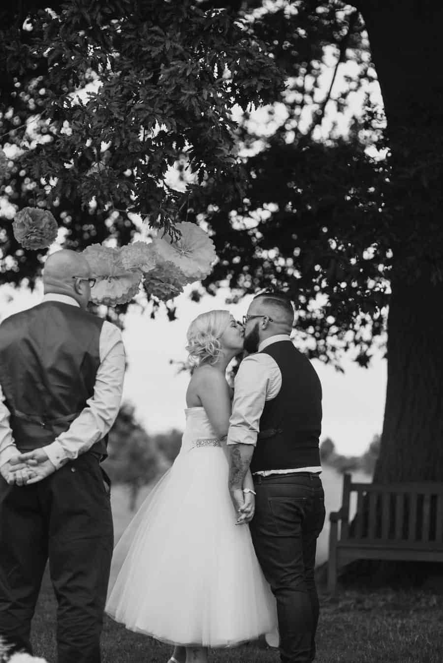 outdoor ceremony under the oak tree at Bawdon Lodge Farm - Sami Tipi Wedding at Bawdon Lodge Farm