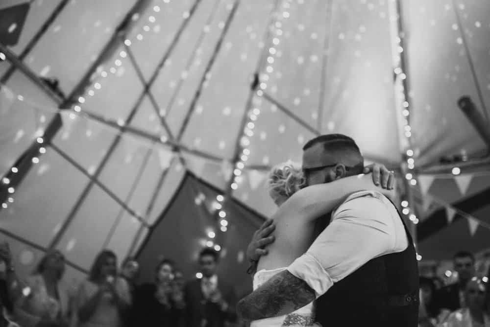 tipi first dance - Sami Tipi Wedding at Bawdon Lodge Farm