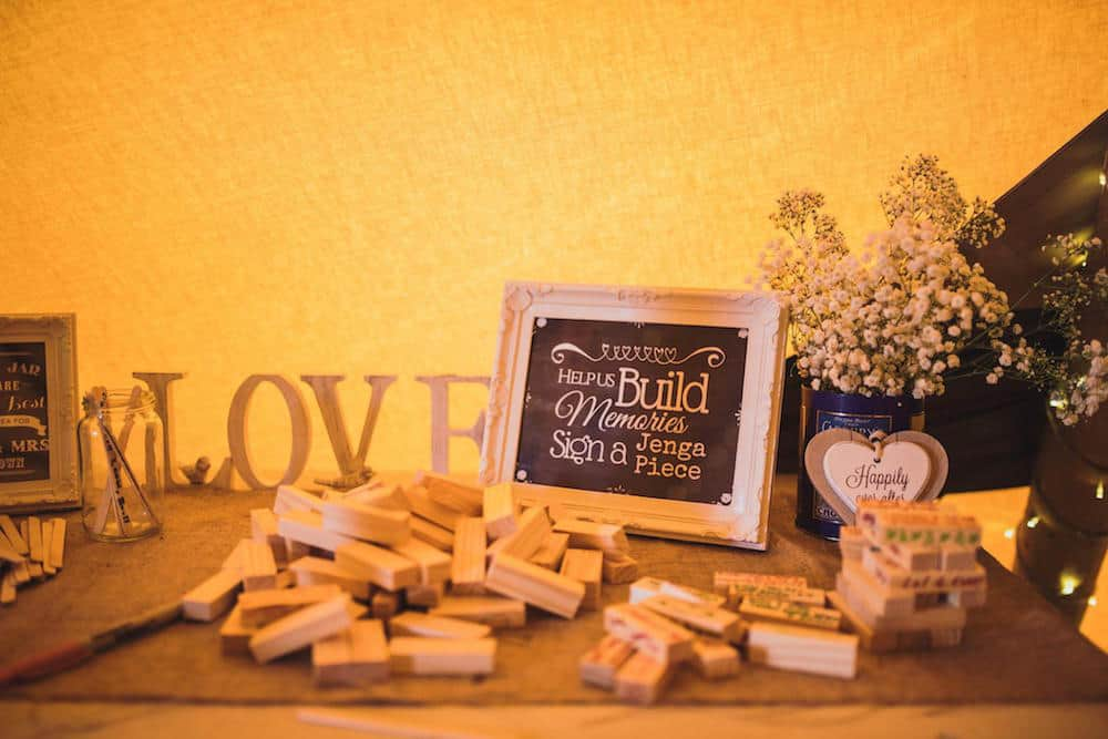 jenga guest book - Sami Tipi Wedding at Bawdon Lodge Farm