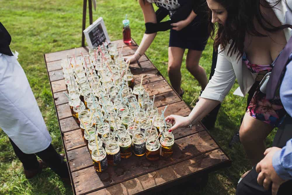 welcome drinks - Sami Tipi Wedding at Bawdon Lodge Farm