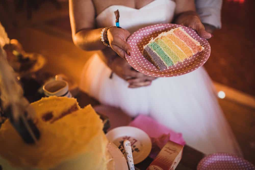 rainbow wedding cake - Sami Tipi Wedding at Bawdon Lodge Farm