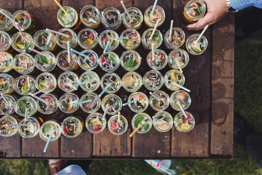 welcome drinks - Sami Tipi Wedding at Bawdon Lodge Farm