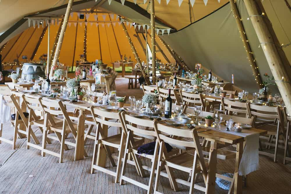internal tipi table set up - Sami Tipi Wedding - Captured by Duncan Cox