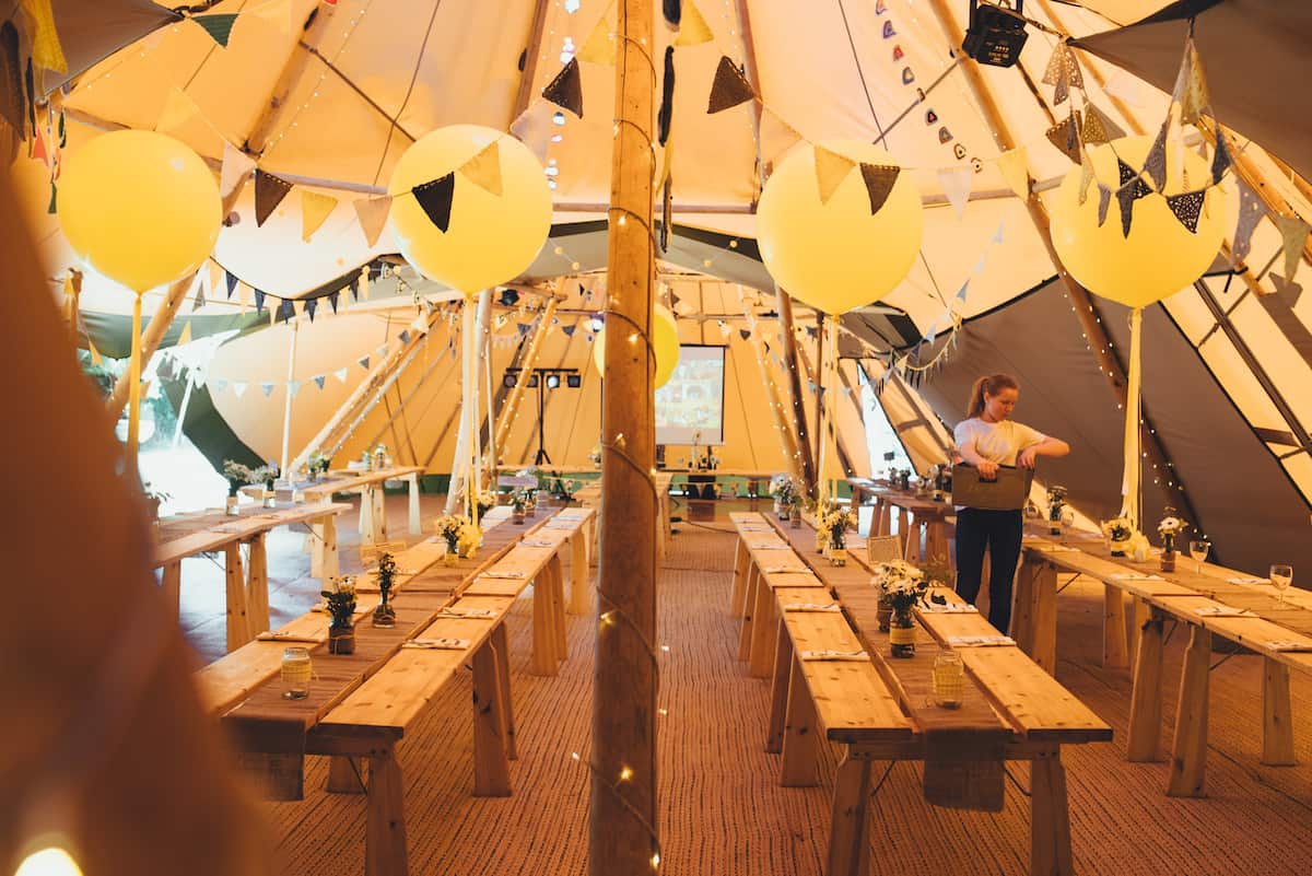 Yellow Styling Detail giant balloons - Sami Tipi Wedding Hire captured by Becky Ryan