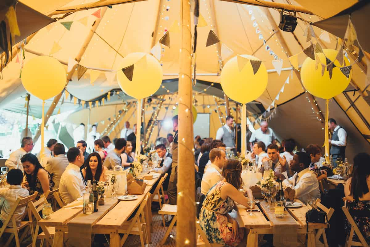 Internal Layout of 2 giant that tipis and chill-out tipi - Sami Tipi Wedding Hire captured by Becky Ryan