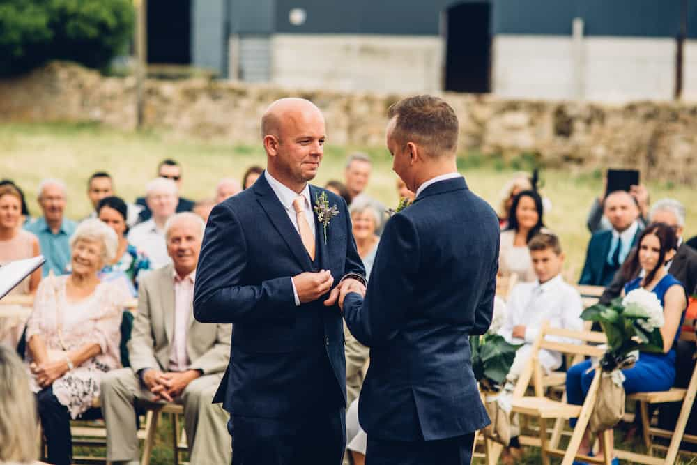 Outdoor wedding Cremony - Sami Tipi Derbyshire Wedding - captured by Matt Brown Photography
