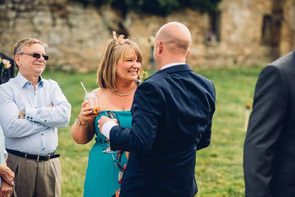 Outdoor wedding Cremony welcome drinks - Sami Tipi Derbyshire Wedding - captured by Matt Brown Photography