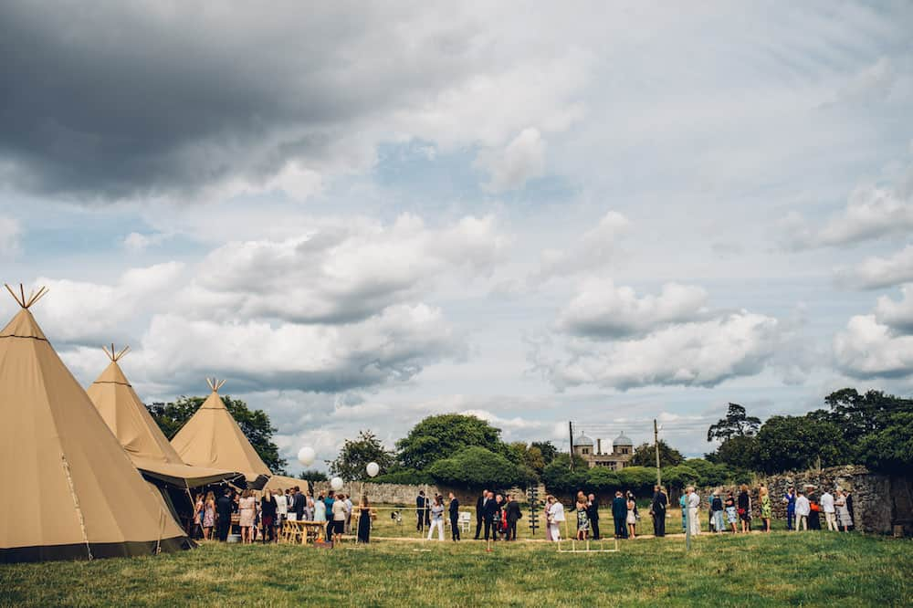 Three giant Hat tipis - Sami Tipi Derbyshire Wedding - captured by Matt Brown Photography