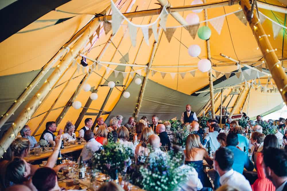 Three giant hat tipi wedding - Sami Tipi Derbyshire Wedding - captured by Matt Brown Photography