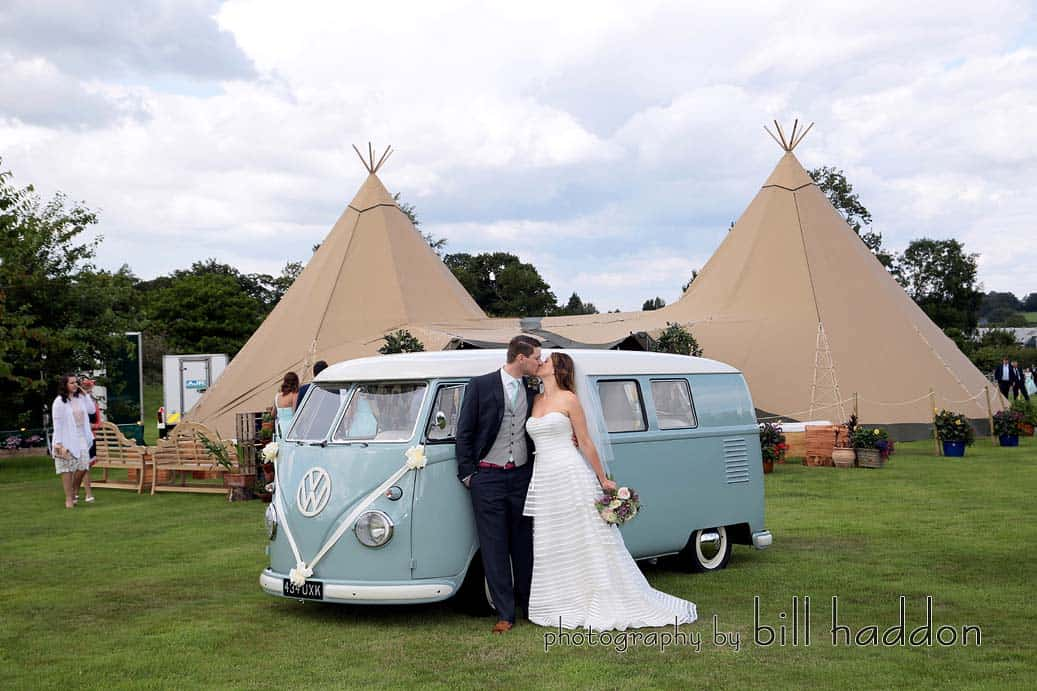 Arriving at the tipis - 2 giant hat tipis at Bawdon Lodge Farm - Sami Tipi Wedding by Bill Haddon Photography -