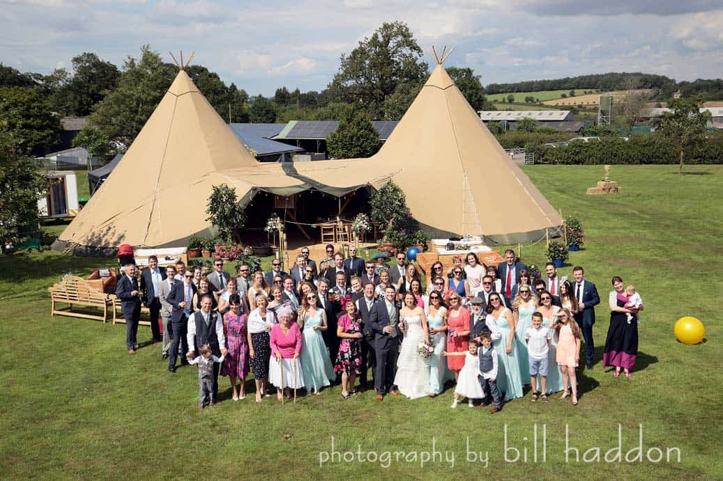 2 giant hat tipis at Bawdon Lodge Farm - Sami Tipi Wedding by Bill Haddon Photography -