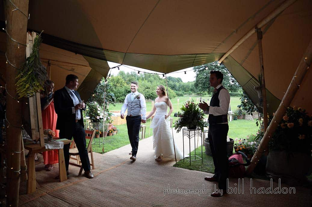 Arriving at the tipis - Sami Tipi Wedding by Bill Haddon Photography -