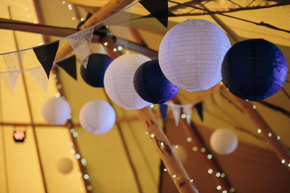 Hanging Lanters - Sami Tipi Wedding - Image by Kathryn Edwards