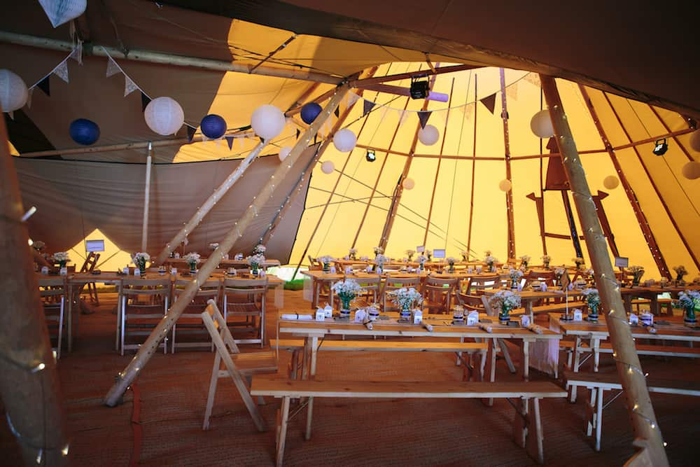 Internal Tipi Set Up - Sami Tipi Wedding - Image by Kathryn Edwards