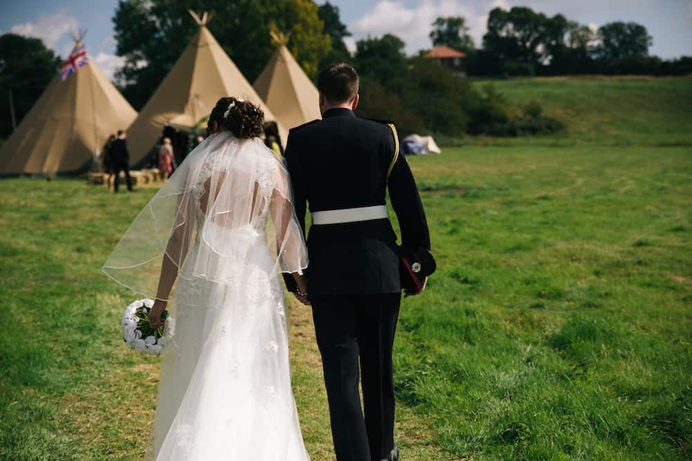 arriving at the tipis - Sami Tipi Wedding - Image by Kathryn Edwards