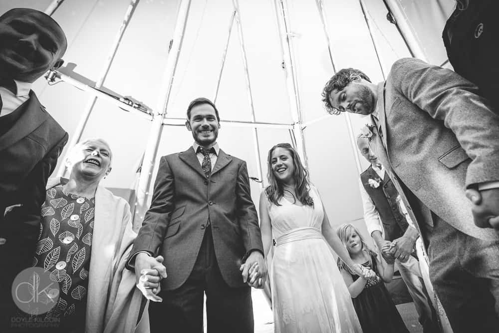 Tipi Dancing - Sami Tipi Wedding in Buckinghamshire - Captured by DK Wedding Photography