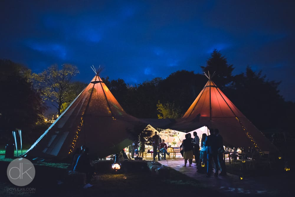 Tipis by night - Sami Tipi Wedding in Buckinghamshire - Captured by DK Wedding Photography