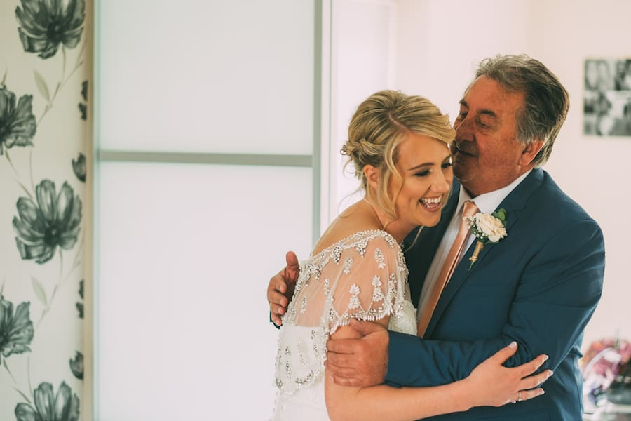 First look from Dad - Sami Tipi Leicestershire wedding - captured by Jonathan Flint Photography