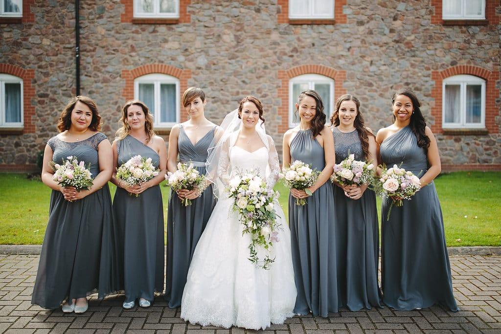 Grey Bridesmaids dresses for Spring Tipi Wedding