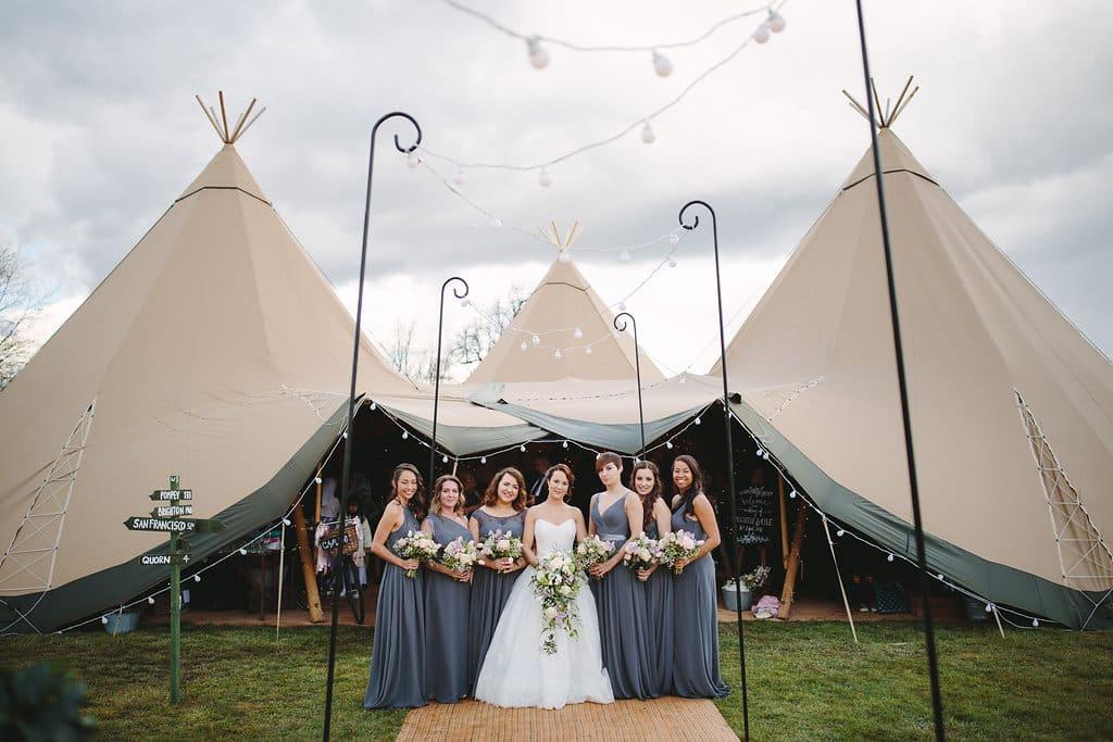 Spring Tipi Wedding Celebration Bridal Party