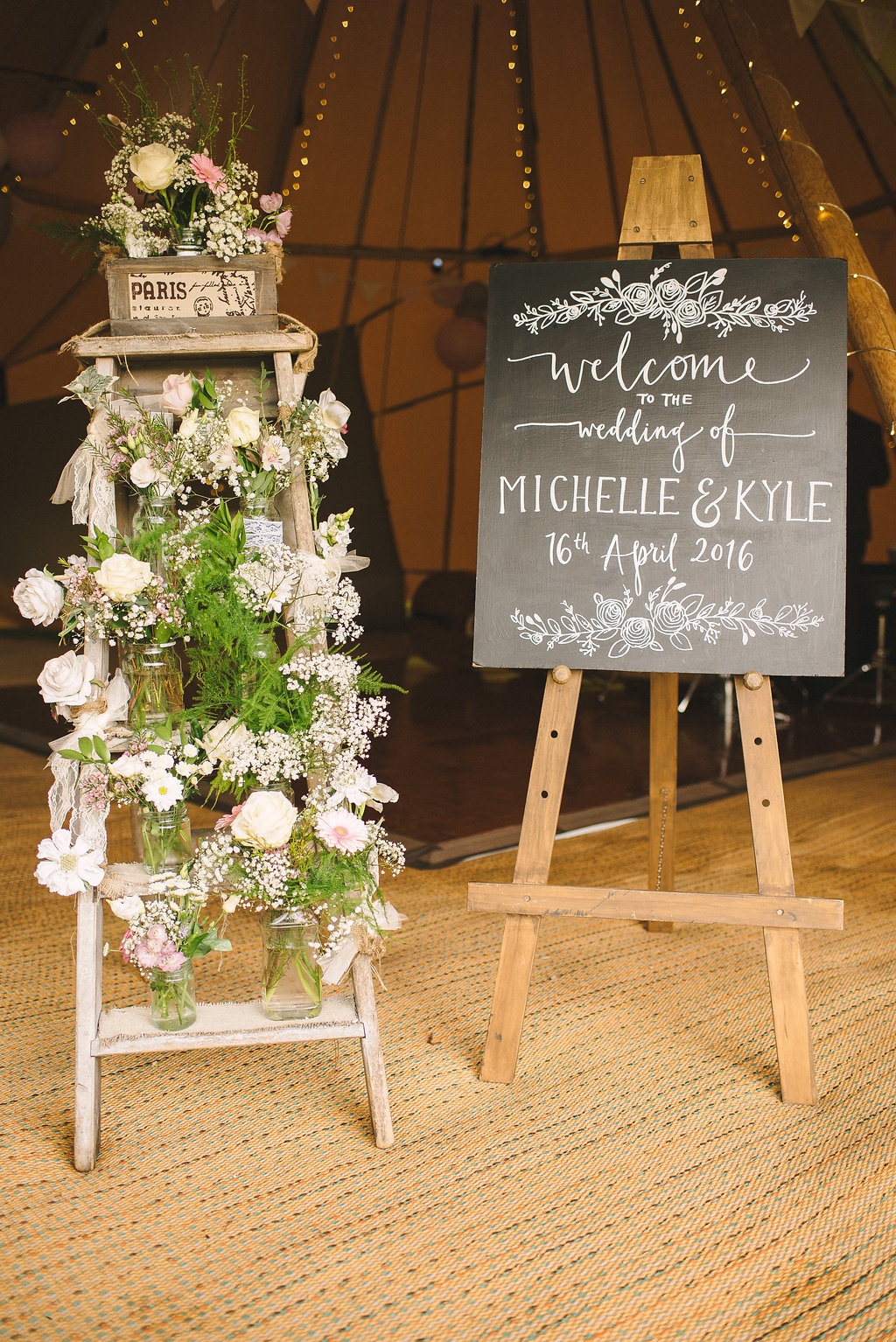Rustic Welcome Board for Tipi Wedding