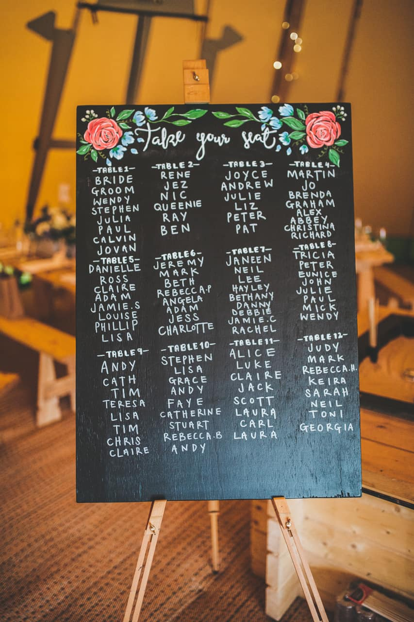 chalk board seating plan - Sami Tipi wedding by Frankee Victoria
