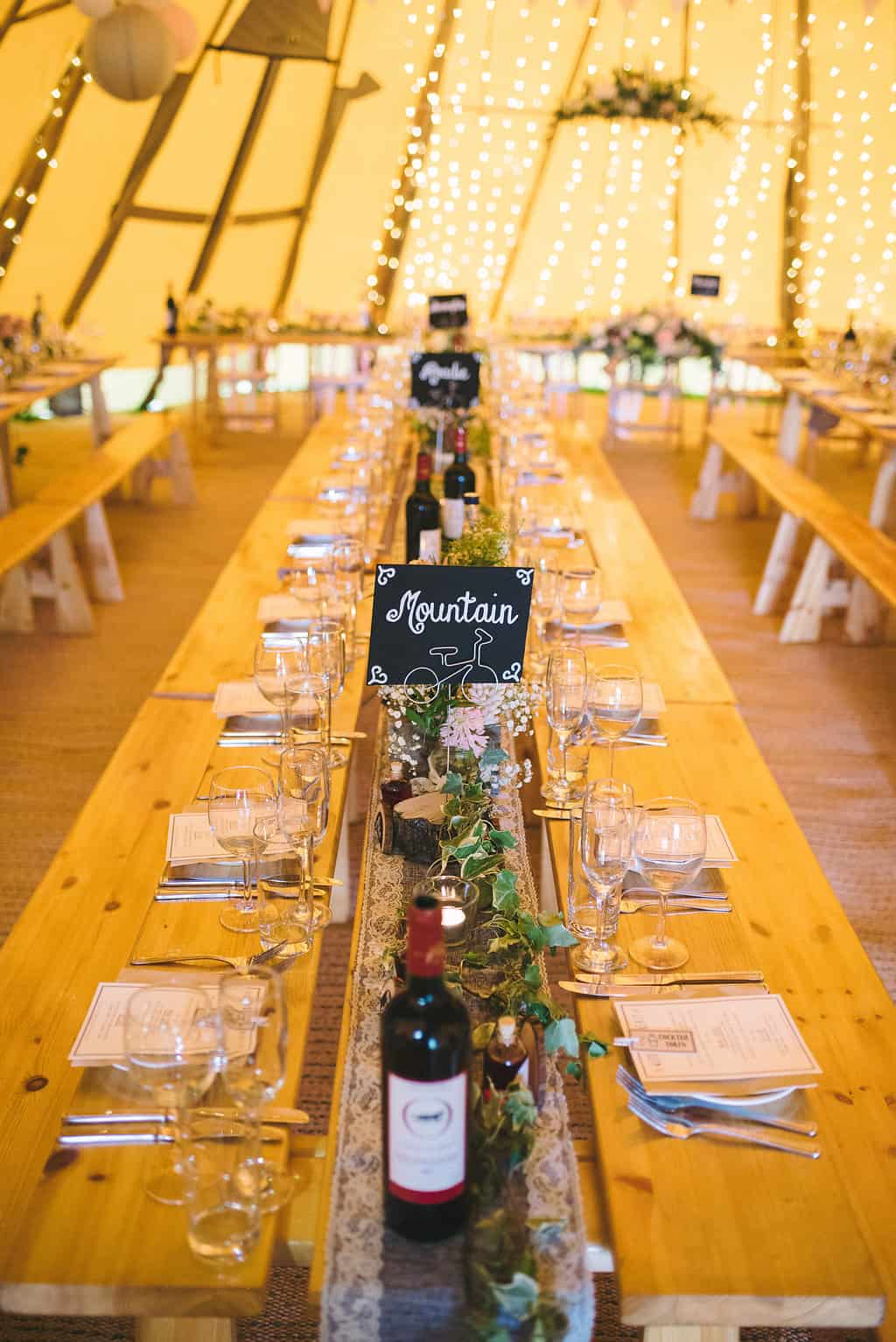 Tipi Table Setting - Sami Tipi Wedding by london-weddingphotographer