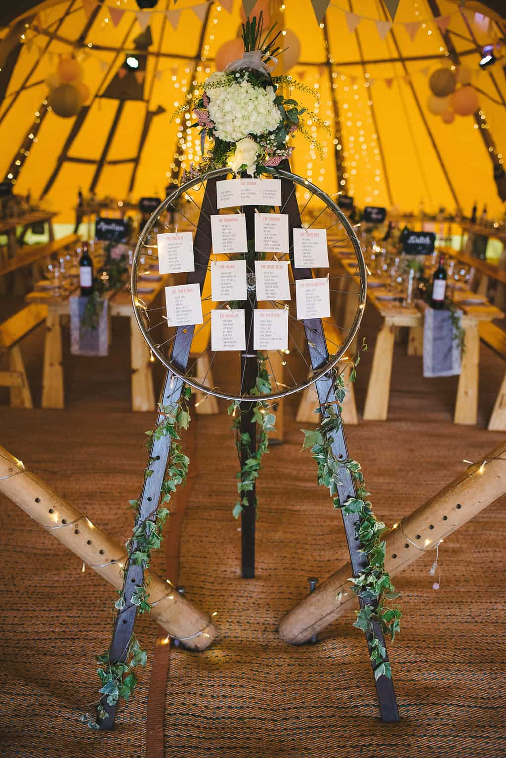 Bicycle seating plan - Sami Tipi Wedding by london-weddingphotographer