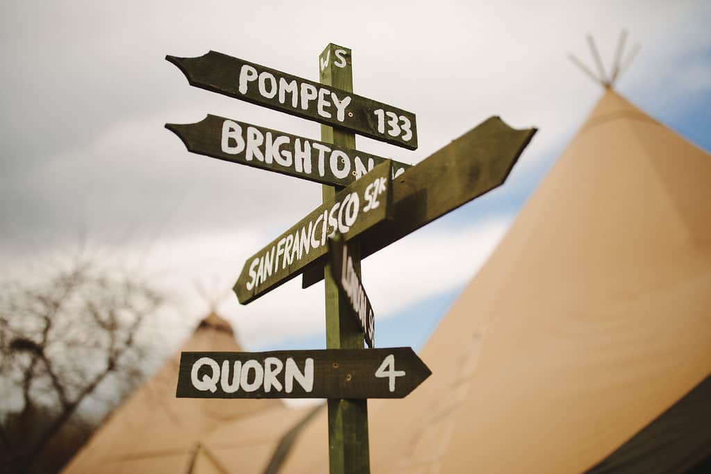 rustic wedding sign - Sami Tipi Wedding by london-weddingphotographer