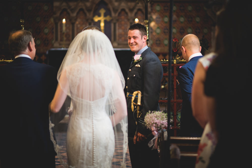 The Ceremony First Look - Sami Tipi Wedding Ilam Derbyshire, Captured by Martin Makowski