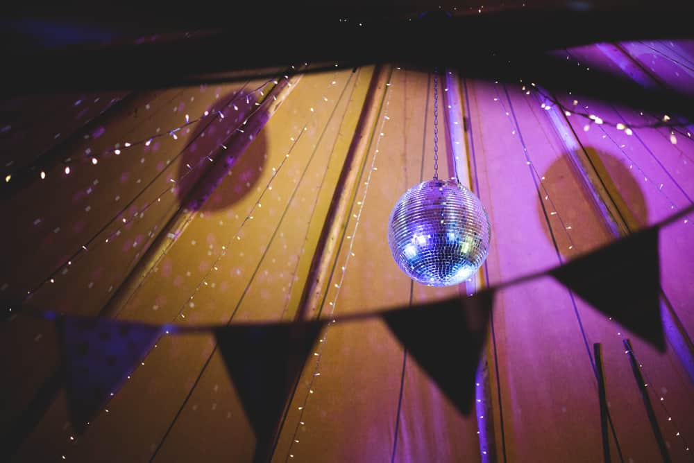 disco ball and fairy lights