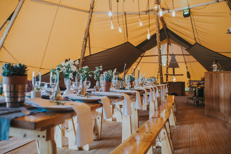 Sami Tipi table setting with nordic pine furniture - Sami Tipi Showcase captured by Ed Brown Photography