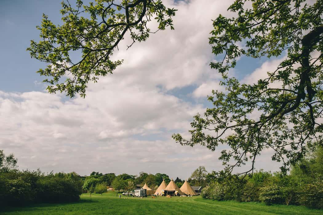 Bawdon Lodge Farm Tipi Wedding view from the oak tree