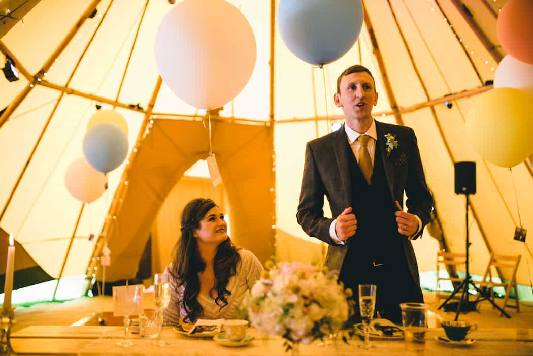Wedding Speeches - Sami Tipi Wedding at Bawdon Lodge Farm captured by Matt Brown Photography