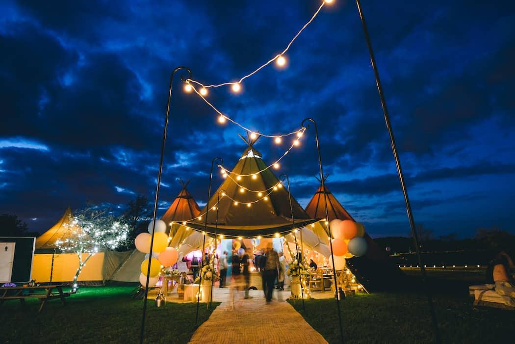 Festoon Light Tipi Wedding Celebration at Bawdon Lodge Farm