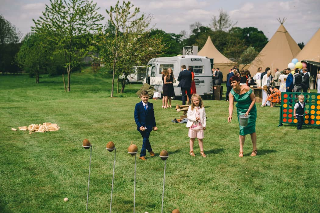 Outdoor Wedding Fun - Sami Tipi Wedding at Bawdon Lodge Farm captured by Matt Brown Photography