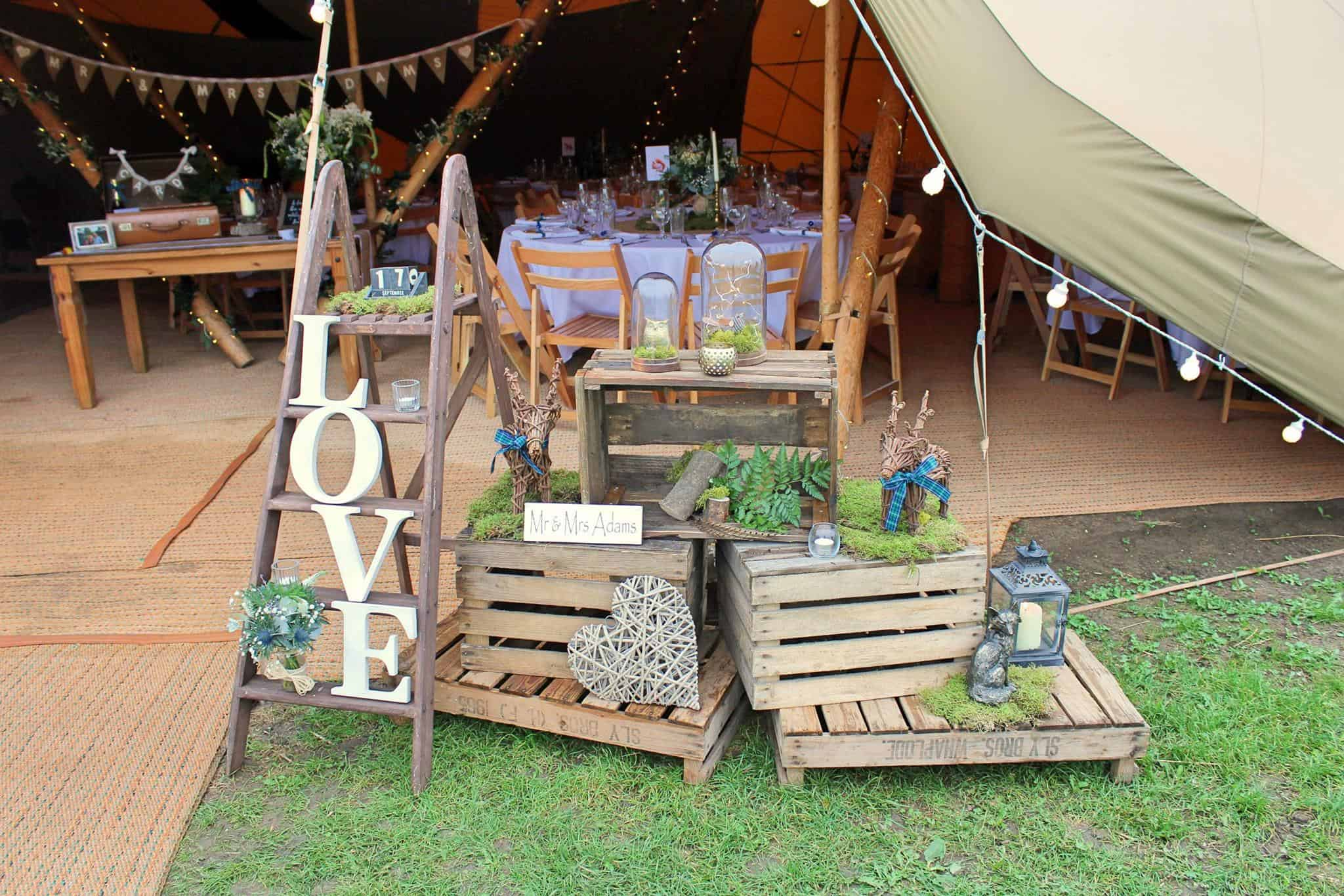 Rustic Tipi Entrance - Woodland themed styling by The Rustic Wedding Company