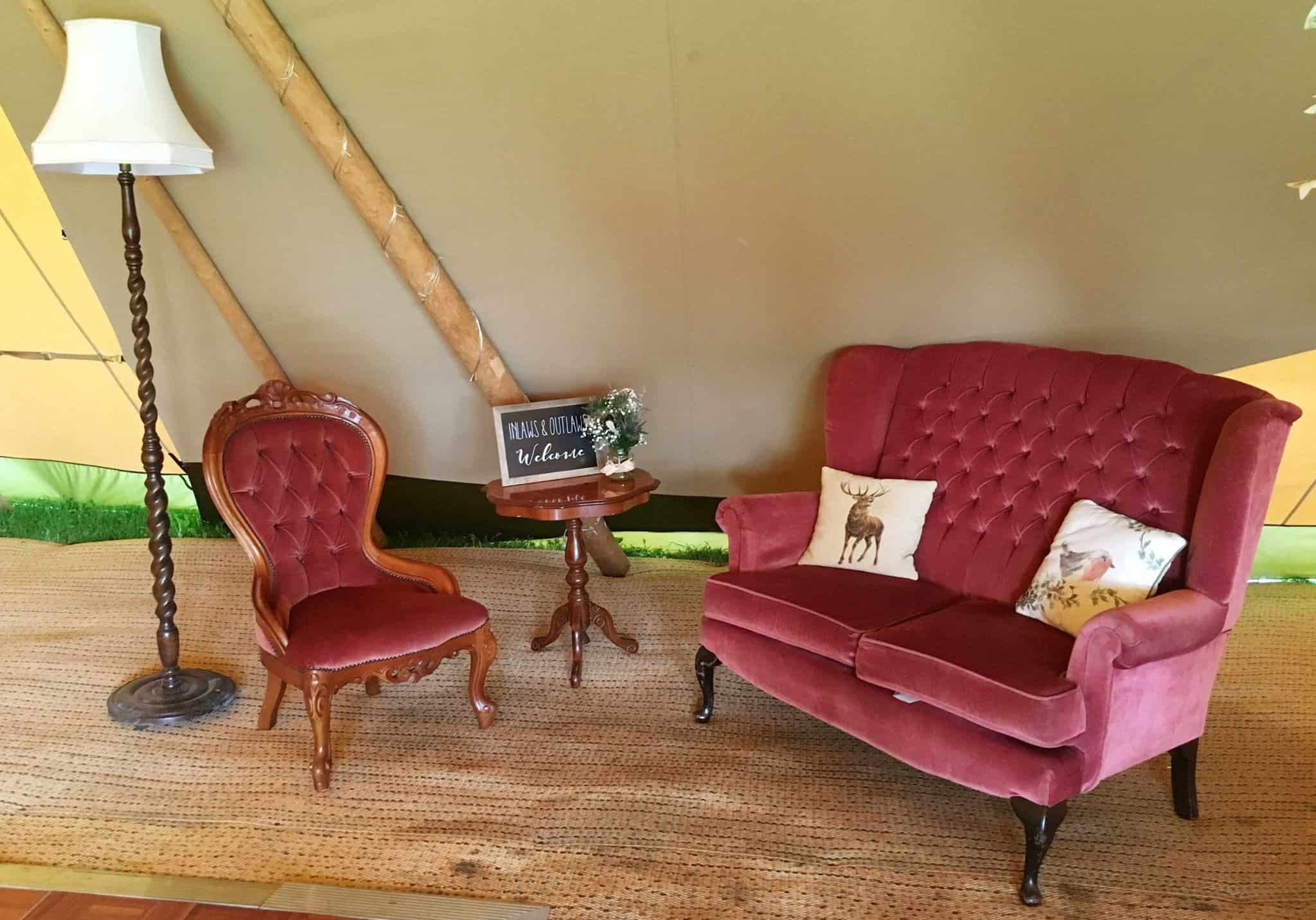 Chill-Out Area - Woodland themed styling by The Rustic Wedding Company