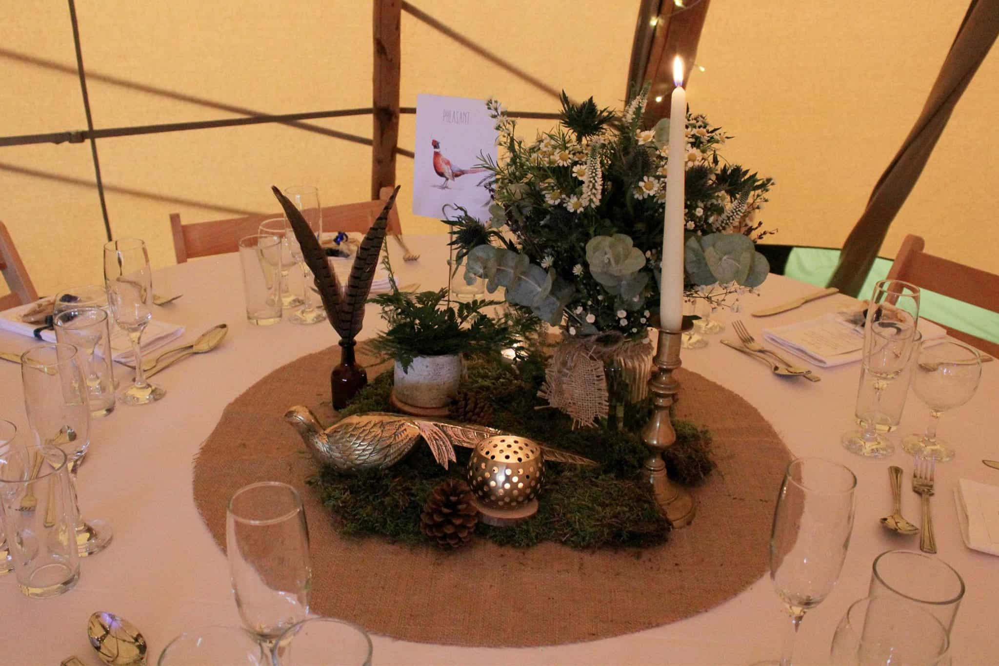 pheasant table - Woodland themed styling by The Rustic Wedding Company