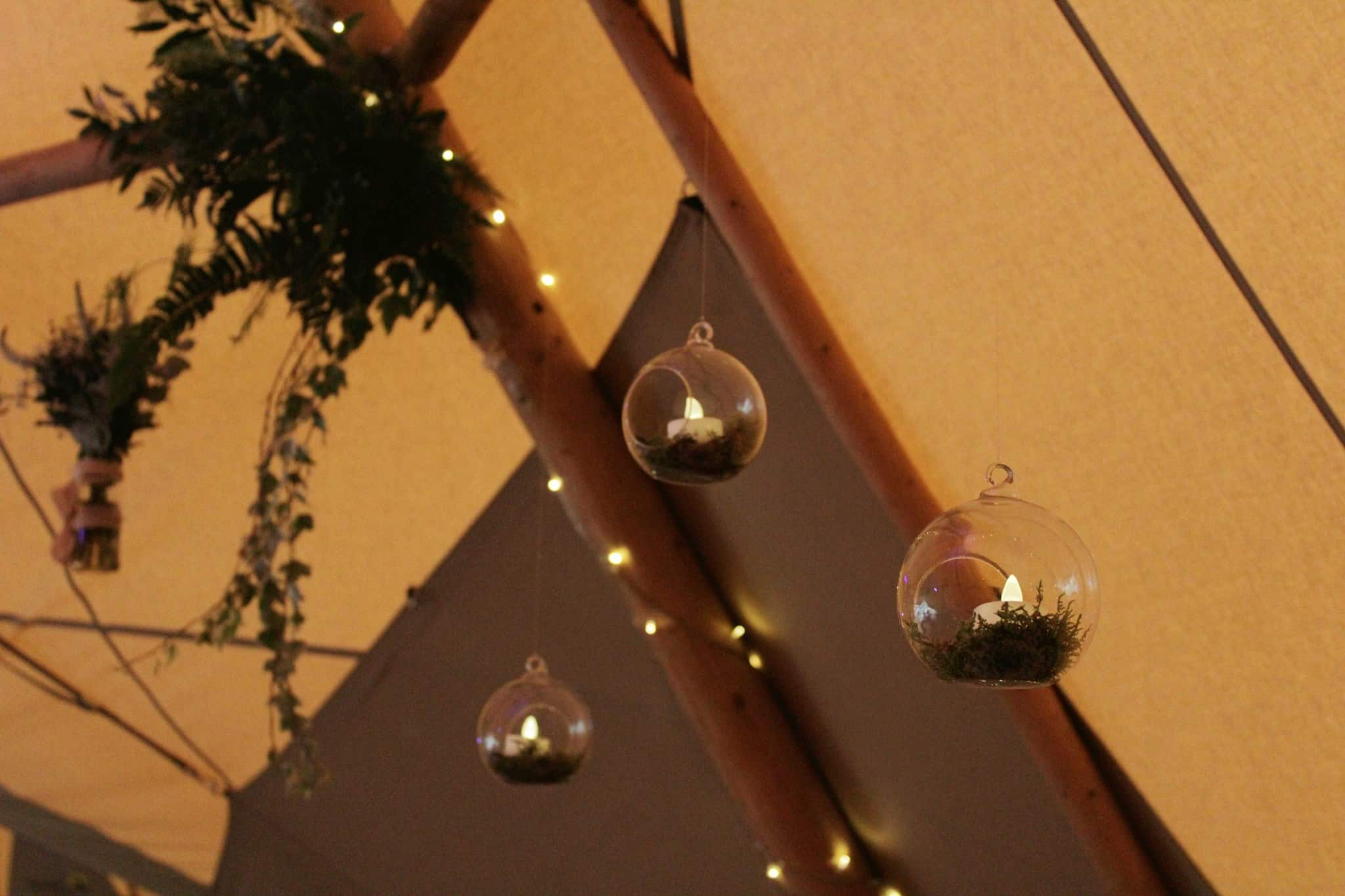Tipi Hanging decorations - Woodland themed styling by The Rustic Wedding Company