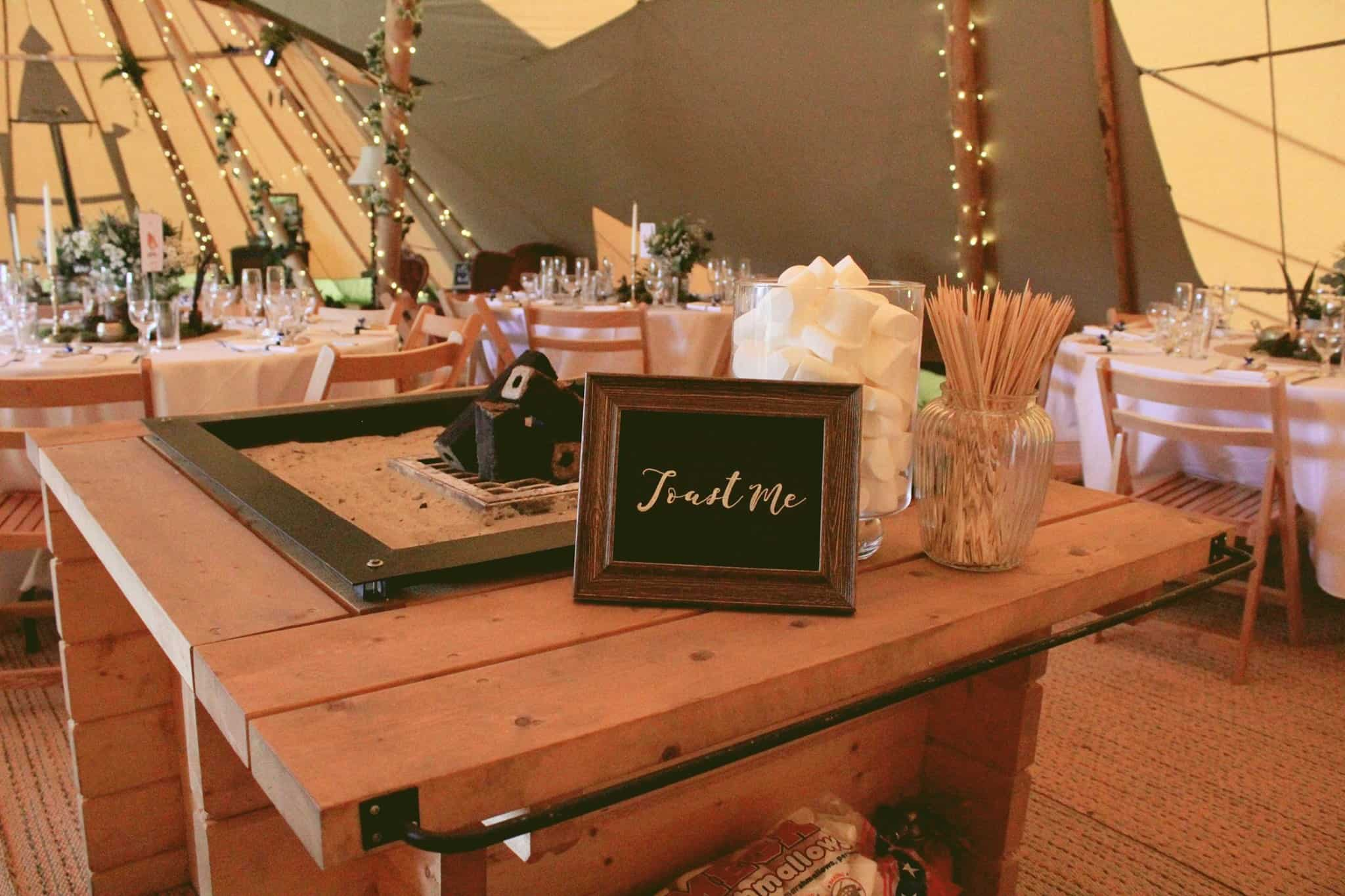 Open Fire Place - Woodland themed styling by The Rustic Wedding Company