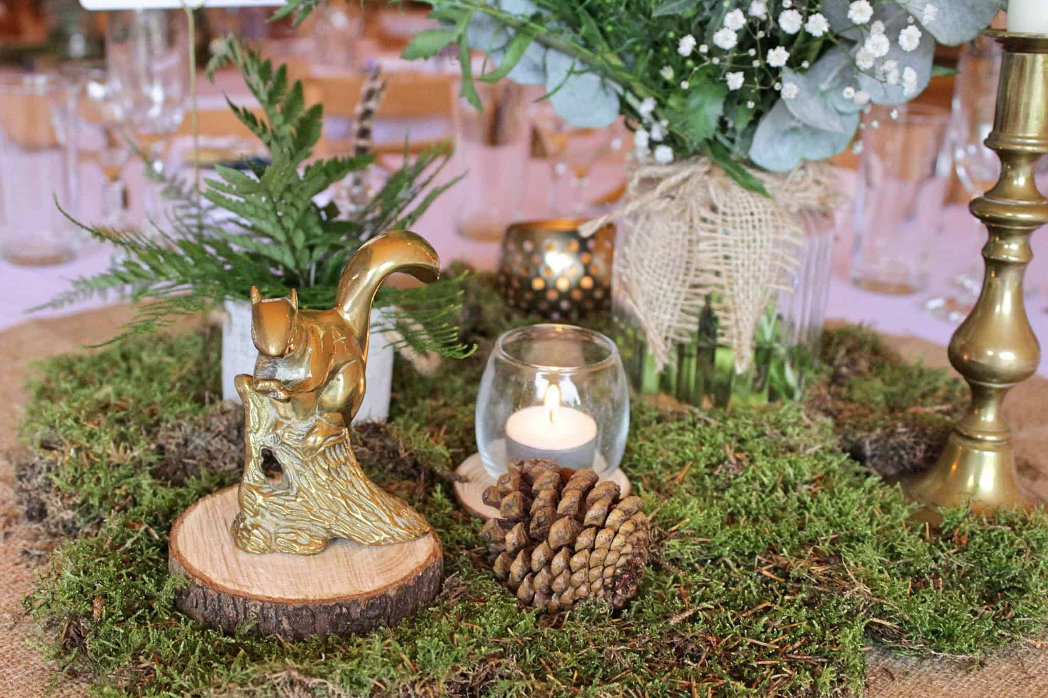 Squiral table setting - Woodland themed styling by The Rustic Wedding Company