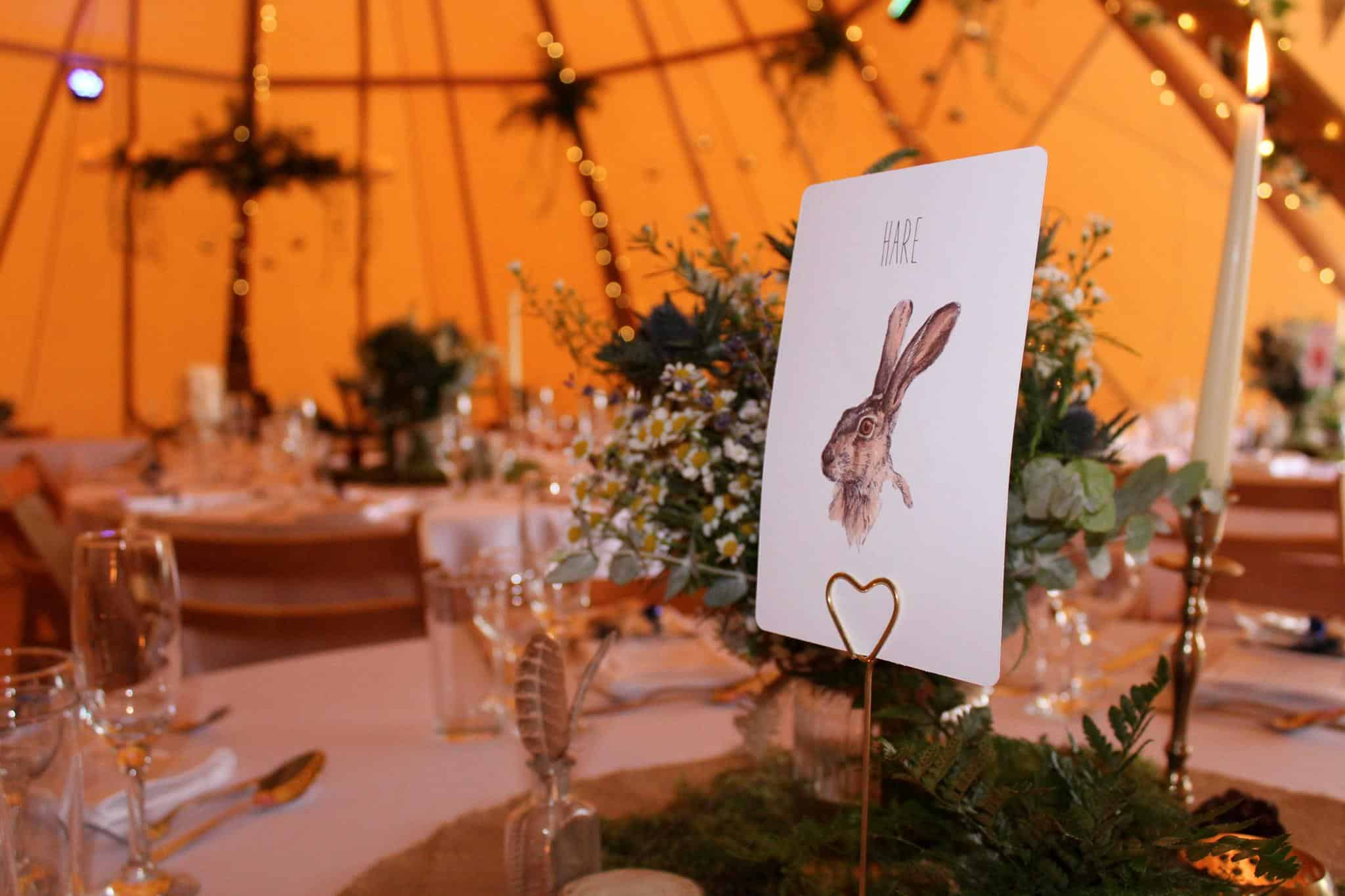 Rabbit table - Woodland themed styling by The Rustic Wedding Company