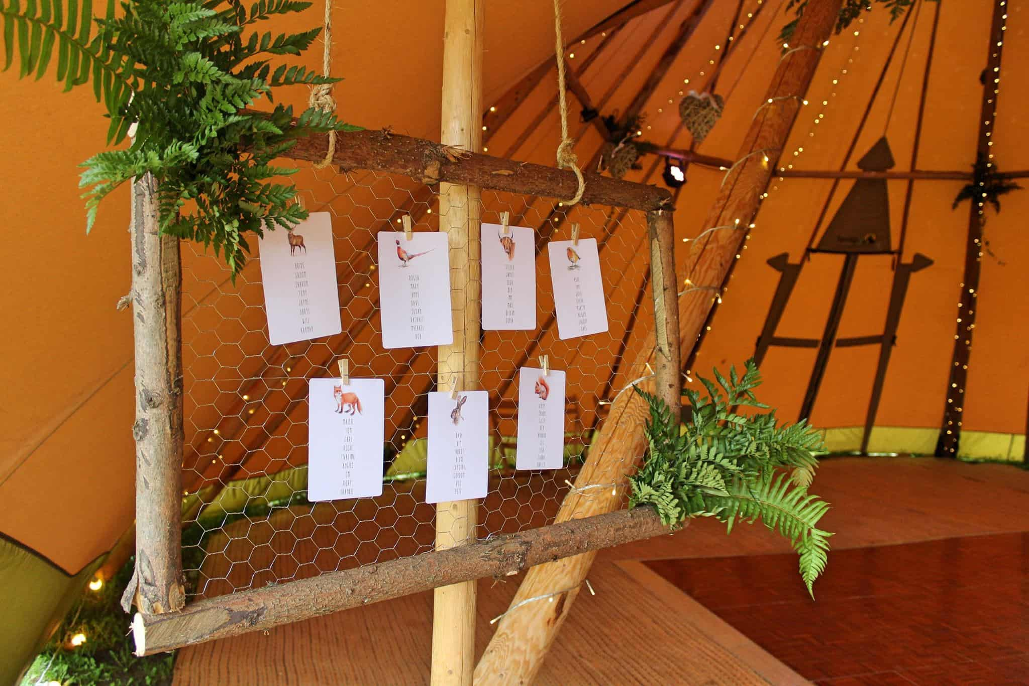 Seating Plan - Woodland themed styling by The Rustic Wedding Company