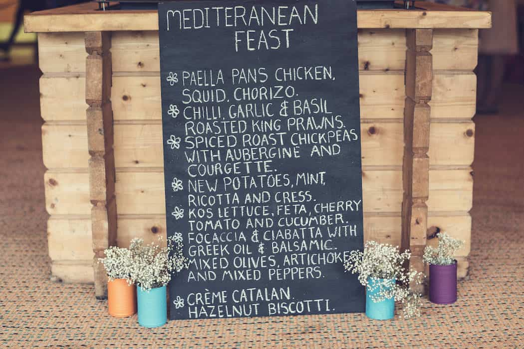Wedding Food Menu Victoria and Adams Sami Tipi Wedding at Bawdon Lodge Farm, Captured by Thomas & Thomas