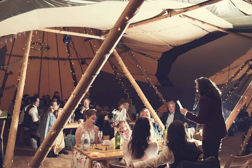 Wedding Speeches - Victoria & Adams Sami Tipi Wedding at Bawdon Lodge Farm, Captured by Thomas & Thomas