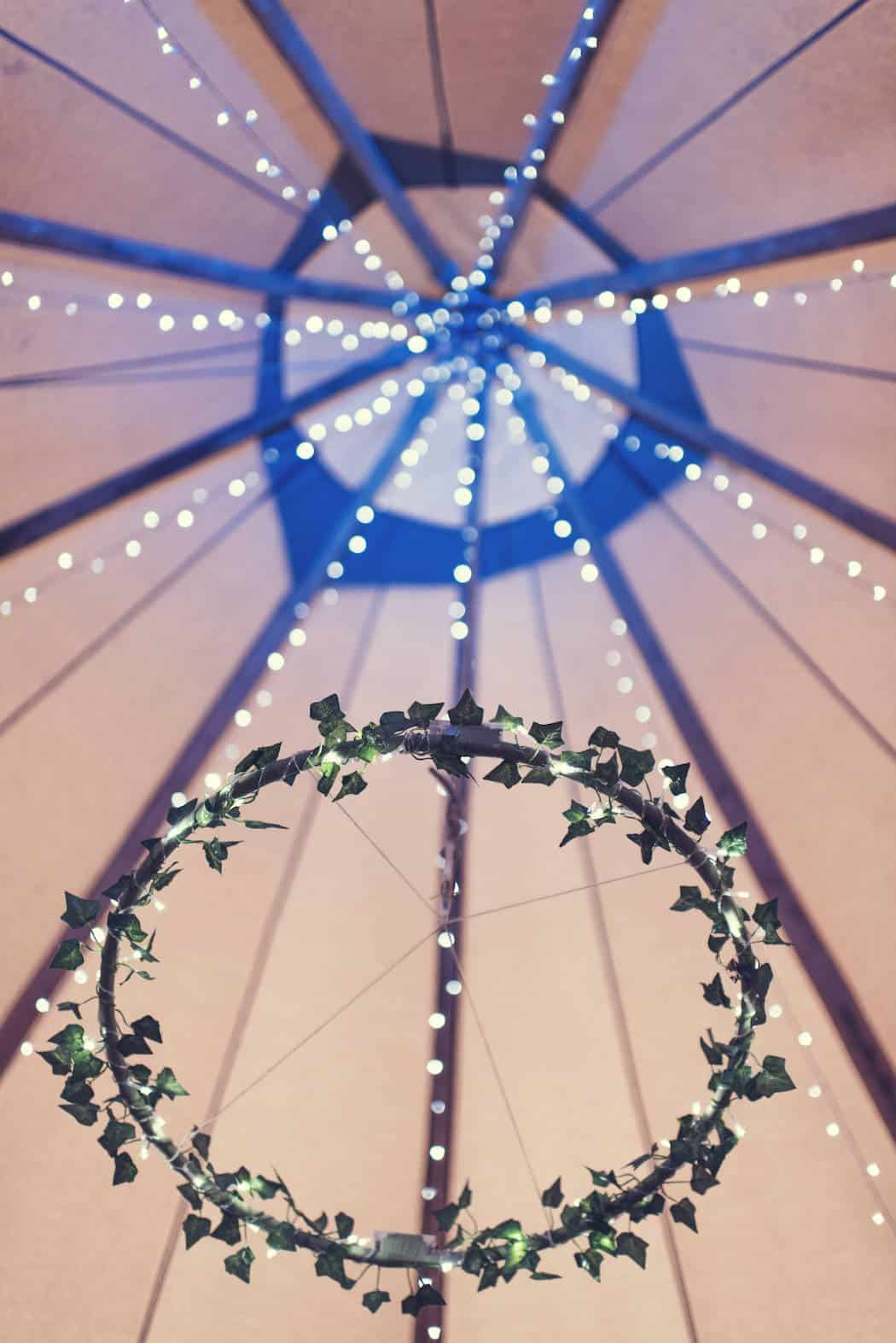 Tipi hanging decorations - Victoria & Adams Sami Tipi Wedding at Bawdon Lodge Farm, Captured by Thomas & Thomas