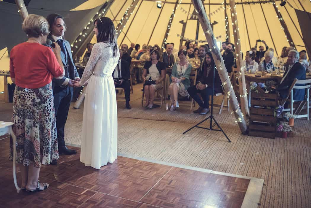 Tipi wedding ceremony - Victoria & Adams Sami Tipi Wedding at Bawdon Lodge Farm, Captured by Thomas & Thomas