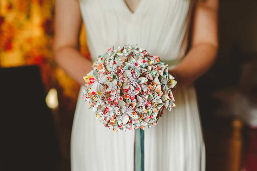 Origami Flower Bouquet - Tom and Ellie's Sami Tipi Wedding at Shingford Manor Derbyshire captured by Camera Hannah