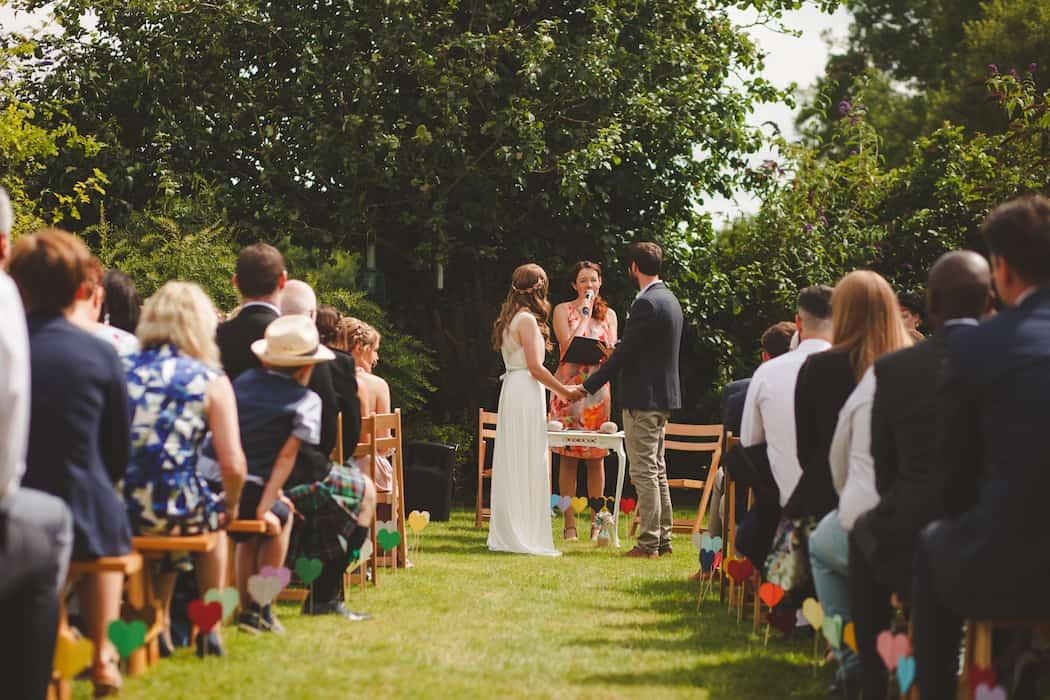 Outdoor wedding ceremony at Shiningford Manor, Derbyshire